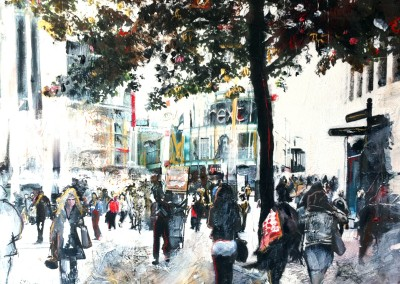 Birmingham cityscape, mixed media on canvas – 2011 | Leanne Gilroy | Rugby