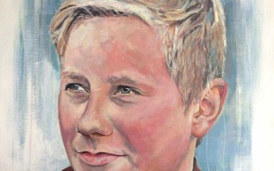 Bobby (private commission) acrylic on canvas, 50x50cm – 2014 | Leanne Gilroy | Rugby