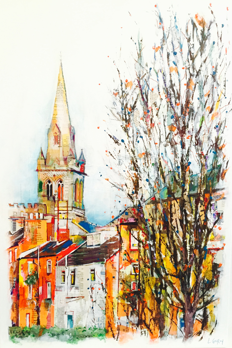 Drury Lane, Rugby, mixed media on canvas, 60x90cm - 2015 | Leanne Gilroy | Rugby