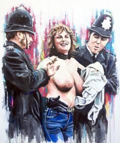 Erika Roe - The first Twickenham streaker, oil on canvas, 182x152cm – 2016 | Leanne Gilroy | Rugby