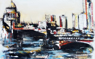 London cityscape, mixed media on canvas – 2011 | Leanne Gilroy | Rugby