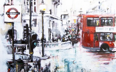 Oxford Circus, London, mixed media on canvas – 2011 | Leanne Gilroy | Rugby