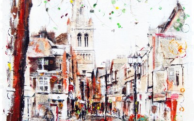 Regent Street, Rugby, mixed media on canvas – 2012 | Leanne Gilory | Rugby