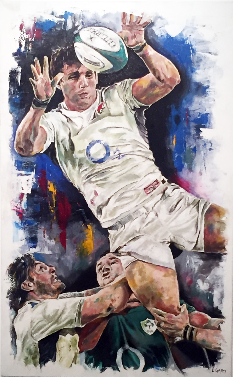 The line out (Rugby Open selected piece) oil on canvas, 100x70cm - 2015 | Leanne Gilroy | Rugby