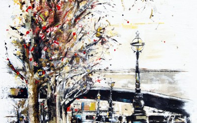 The Embankment, London, mixed media on canvas – 2012 | Leanne Gilroy | Rugby