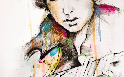 Bob Dylan - pen and gouache – 2015 | Leanne Gilroy | Rugby