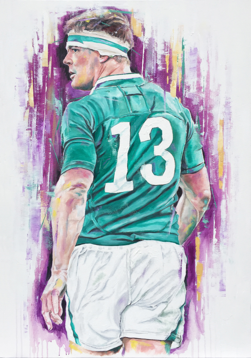 Brian O'Driscoll, oil on canvas, 90x60cm – 2016 | Leanne Gilroy | Rugby