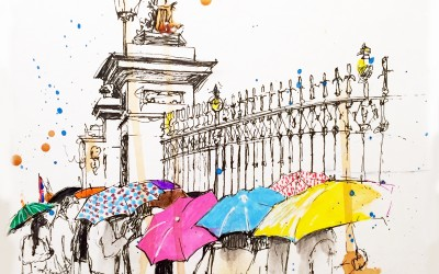 Rainy day at Buckingham Palace – Pen, felt tips and tea – 2015 | Leanne Gilroy | Rugby