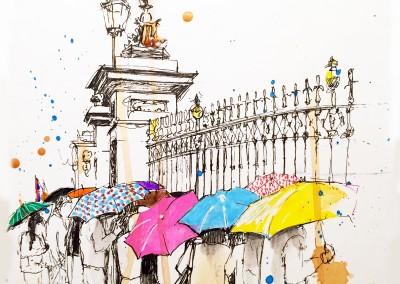 Rainy day at Buckingham Palace – Pen, felt tips and tea – 2015 | Leanne Gilroy | Rugby