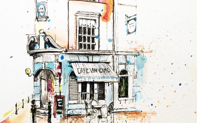 Café Vin Cinq, Rugby – Pen, felt tips and tea – 2015 | Leanne Gilroy | Rugby