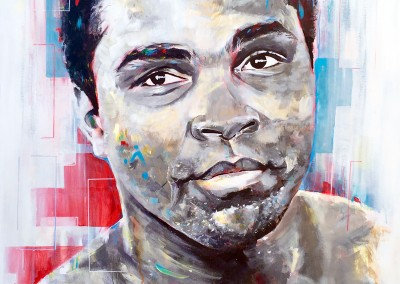 Cassius Clay (private commission) acrylic on canvas, 100x80cm – 2014 | Leanne Gilroy | Rugby