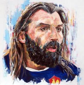 Sebastian Chabal, oil on canvas, 100x100cm – 2016 | Leanne Gilroy | Rugby