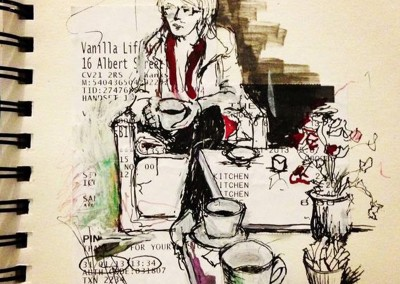 Coffee at Vanilla – Pen and collage - 2013 | Leanne Gilroy | Rugby