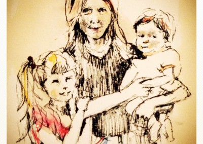 Family portrait – Pen, crayon and tea – 2013 | Leanne Gilroy | Rugby