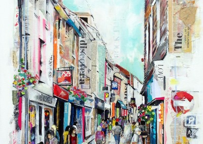 Fore Street, St Ives, mixed media on canvas – 2014 | Leanne Gilroy| Rugby