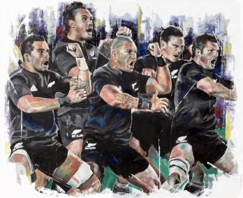 Haka, oil on board, 50x60cm – 2016 | Leanne Gilroy | Rugby