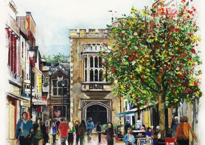 High Street, Rugby, mixed media on canvas – 2015 | Leanne Gilroy | Rugby