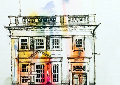 The old bank, Market Bosworth - pen and gouache - 2015 | Leanne Gilroy | Rugby