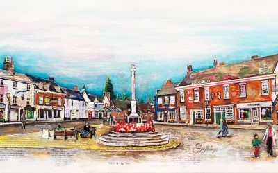 Market Bosworth (private commission) mixed media on canvas – 2015 | Leanne Gilory | Rugby