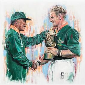 Nelson Mandela and Francois Pienaar, oil on canvas, 152x152cm – 2016 | Leanne Gilroy | Rugby