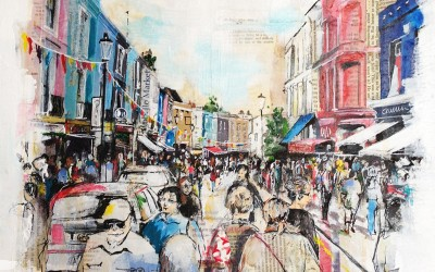Portobello Road, London, mixed media on canvas – 2014 | Leanne Gilory | Rugby