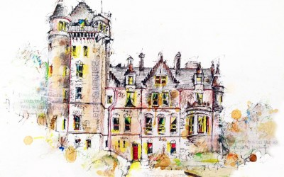 Belfast Castle (private commission) - Pen, crayon and tea – 2014 | Leanne Gilroy | Rugby