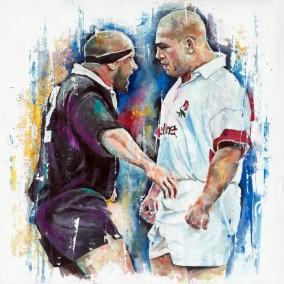 Richard Cockerill, oil on board, 60x60cm – 2016 | Leanne Gilroy | Rugby