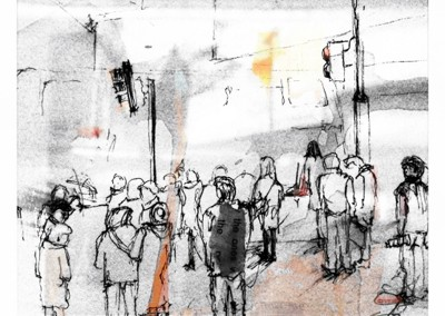 Rush hour – Pen, collage and tea – 2013 | Leanne Gilroy | Rugby