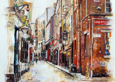 The Cavern Quarter, Liverpool, mixed media on canvas – 2013 | Leanne Gilroy | Rugby