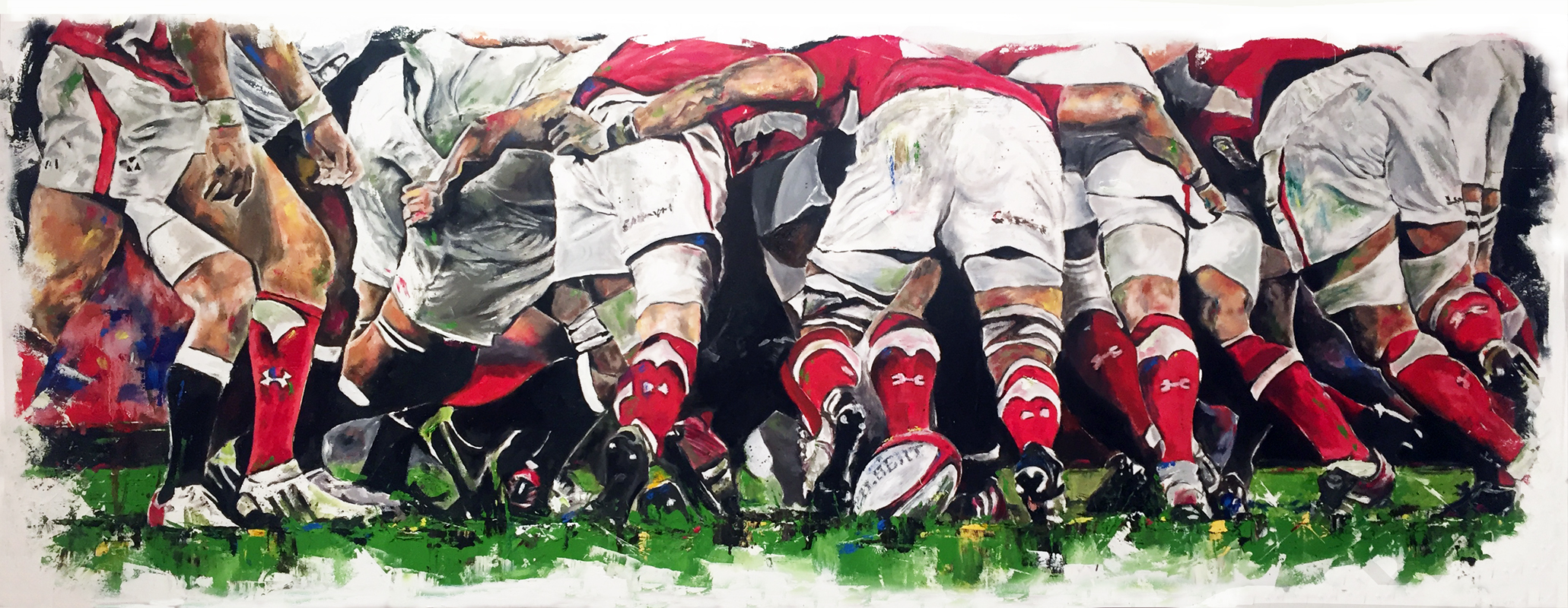 The scrum (Rugby Open selected piece) oil on canvas, 170x60cm - 2015 | Leanne Gilroy | Rugby