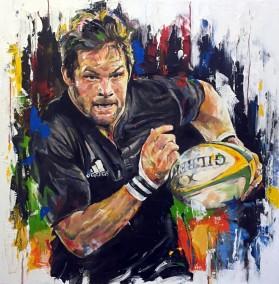 Richie McCaw, oil on canvas, 70x70cm - 2015 | Leanne Gilroy | Rugby